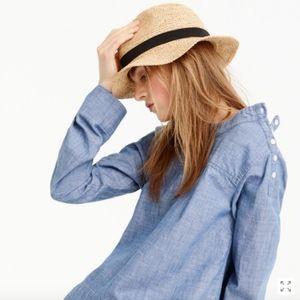 JCrew Wide Brim Packable Hat 100% Raffia Straw